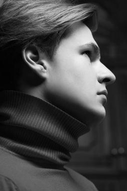 Male beauty concept. Profile portrait of young man with perfect haircut wearing gray turtleneck. Old Hollywood star style. Close up. Monochrome studio shot stock vector
