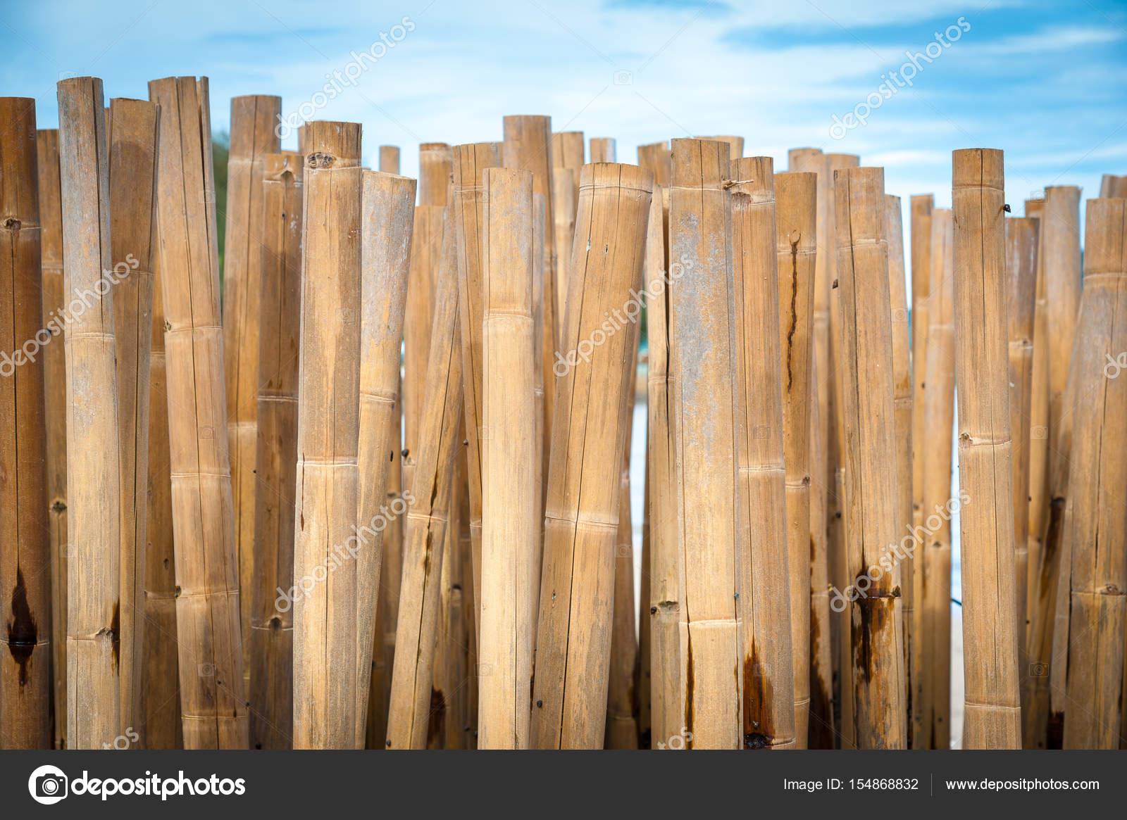 Barrière en bambou pour protéger la plage — Photographie ...