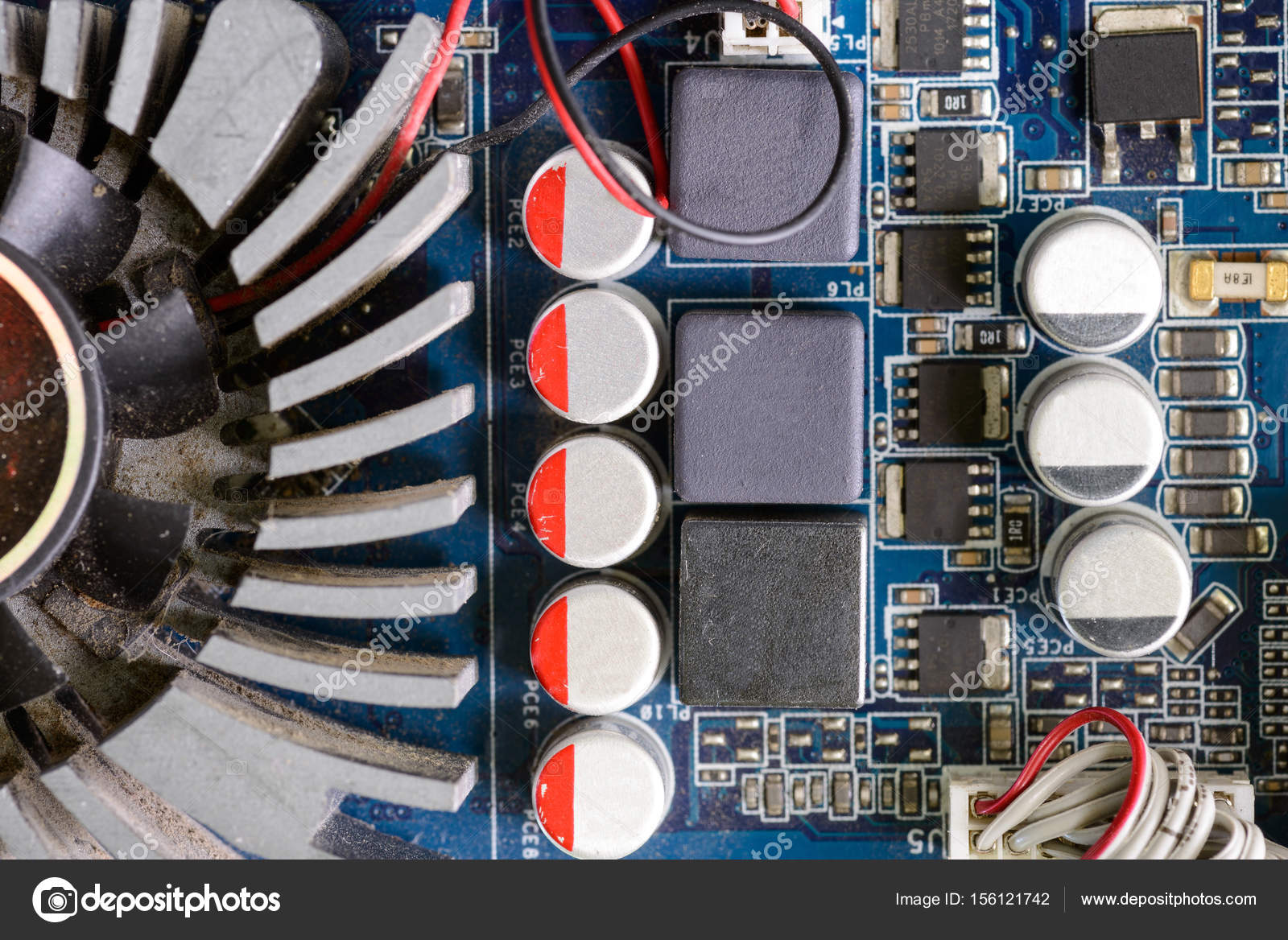 Closeup of dusty computer motherboard with details — Stock