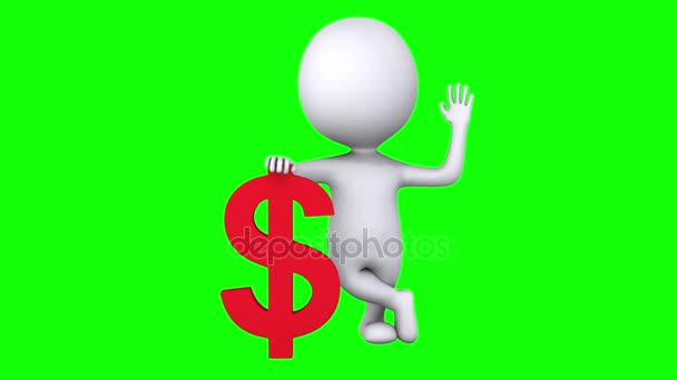 3d white man stand with red dollar sign