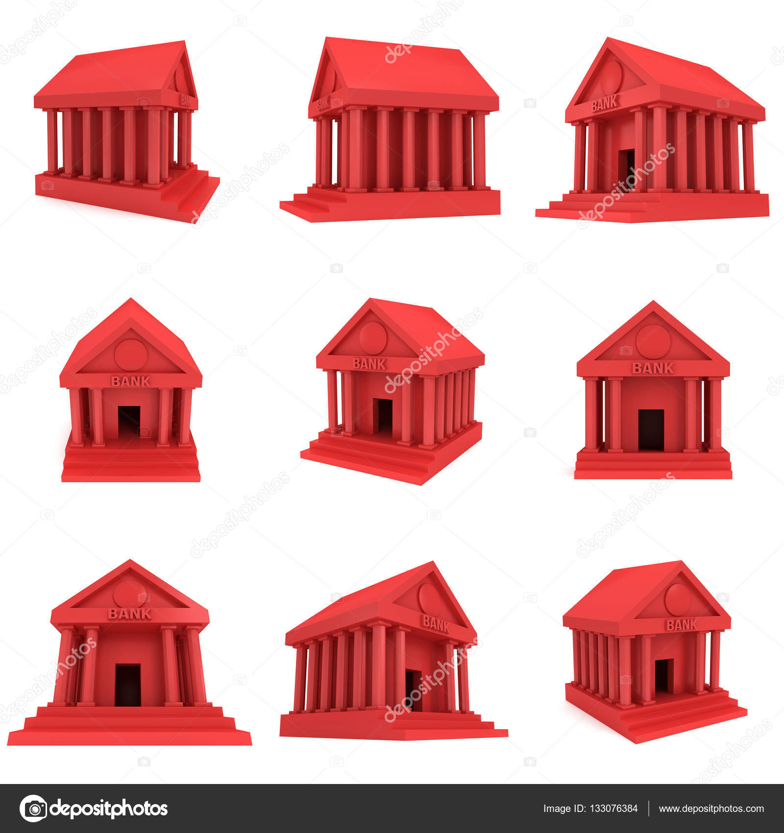 Red Bank building 3d icon — Stock Photo © newb1 #133076384