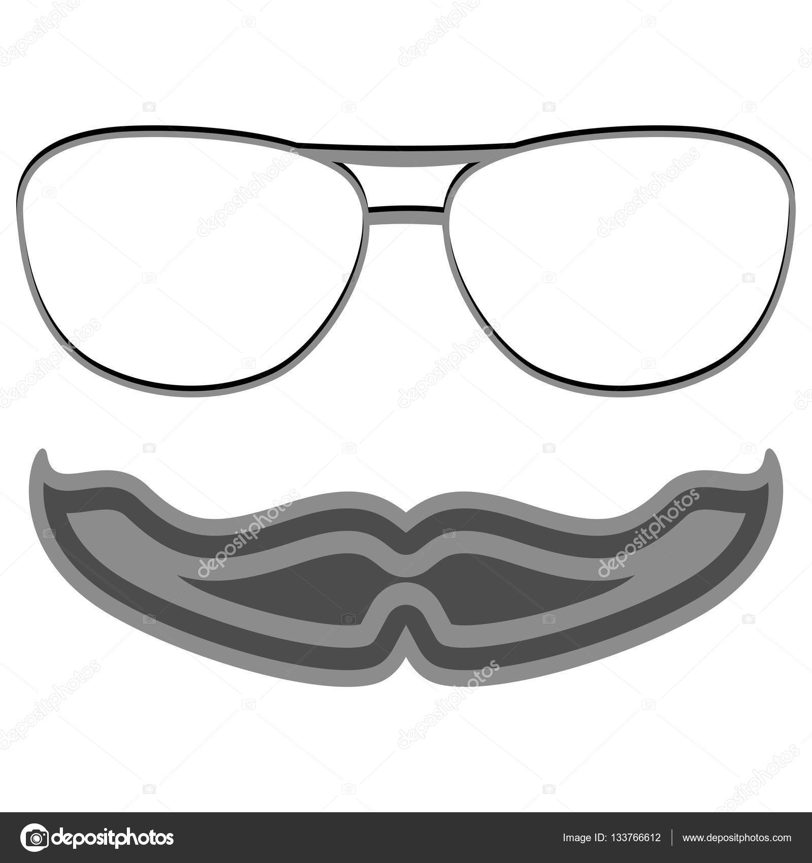 Hipster nerd glasses and stylish mustache on white — Stock Vector ...