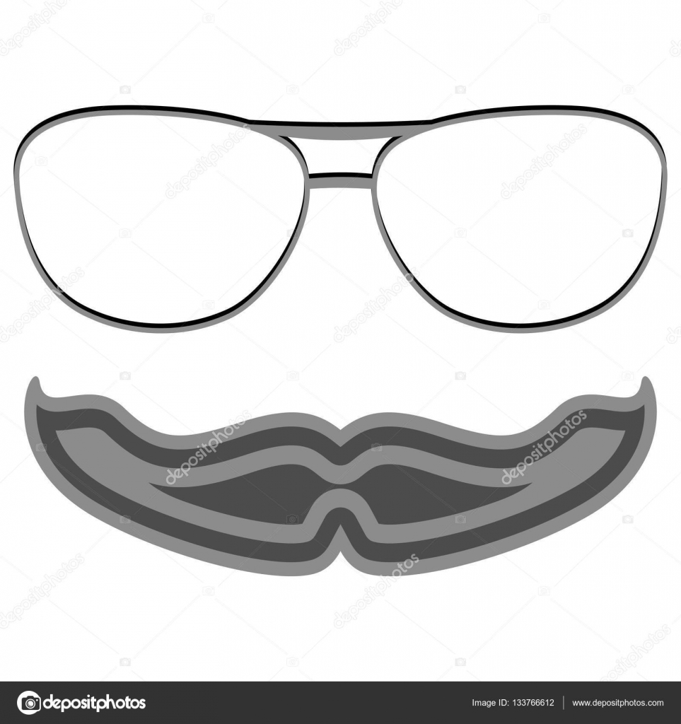 Hipster Nerd Glasses And Stylish Mustache On White Stock Vector