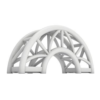 Steel truss arc girder element