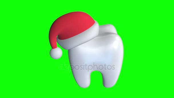 Tooth Wearing Santa Claus Hat