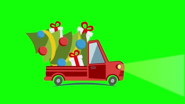 Plochý přeprava nákladní automobil, van s vánoční strom
