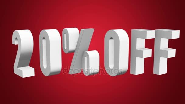 20% sleva 3d písmen otočit na bílém pozadí