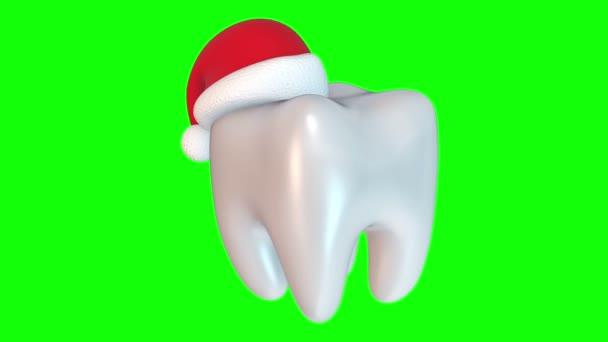 Zahn trägt Weihnachtsmann-Hut