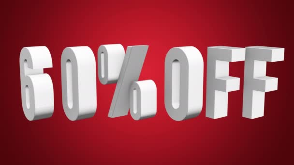 60 procent z 3d písmen otočit na bílém pozadí