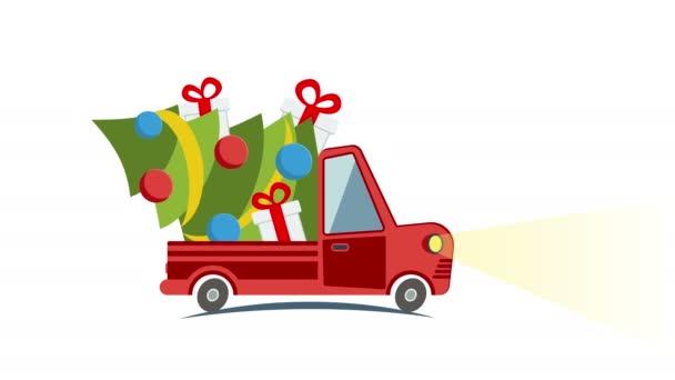 Plochý přeprava nákladní automobil, van s Dárkový box balení na bílé Vánoce