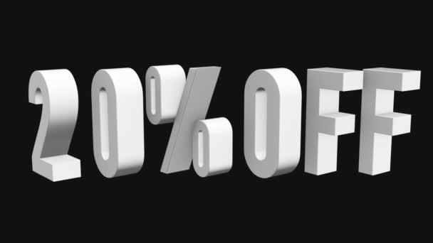 20 procent z 3d písmen otočit na černém pozadí