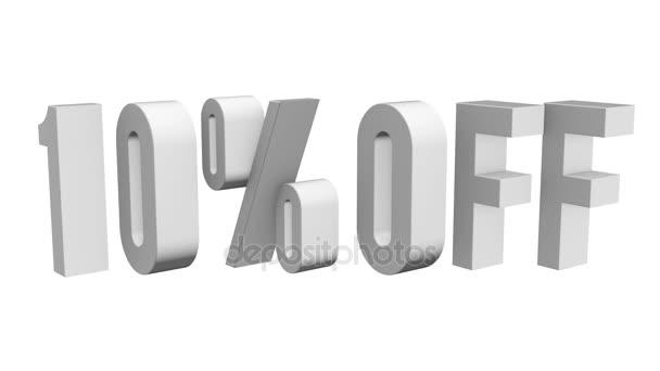 10 procent z 3d písmen otočit na bílém pozadí