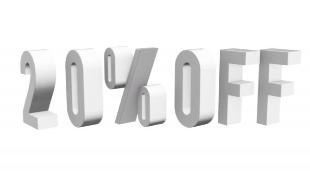 20 percent off 3d letters rotate on white background