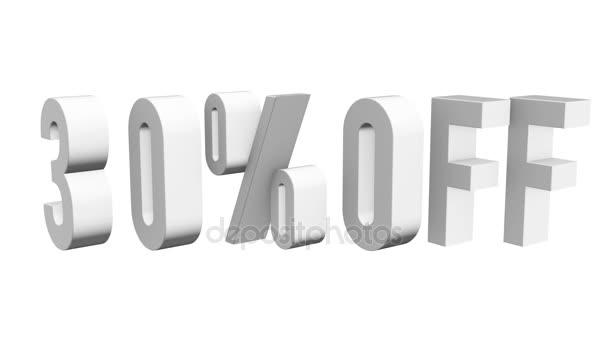 30 procent z 3d písmen otočit na bílém pozadí