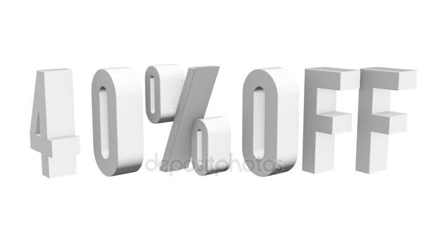 40 procent z 3d písmen otočit na bílém pozadí