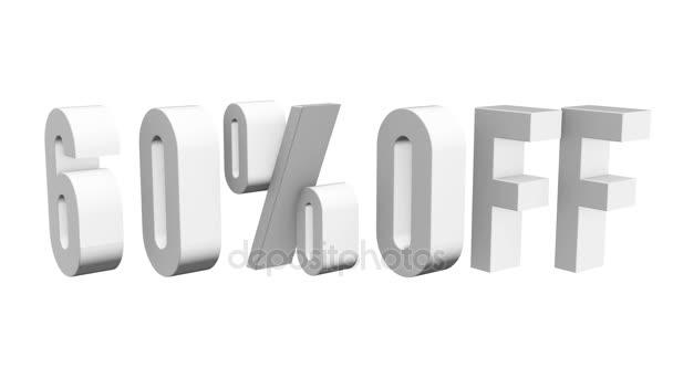 60% sleva 3d písmen otočit na bílém pozadí
