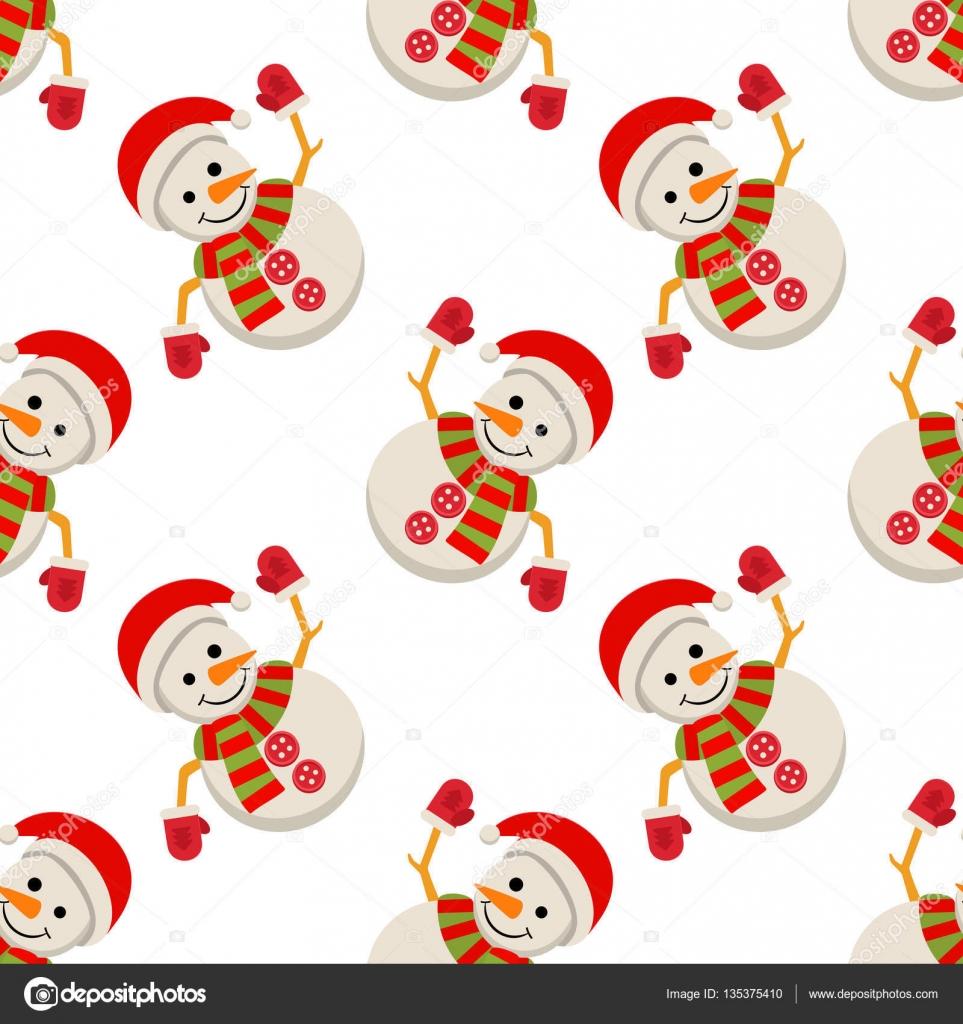 Hombre de nieve de Papá Noel del casquillo de patrones sin fisuras ...