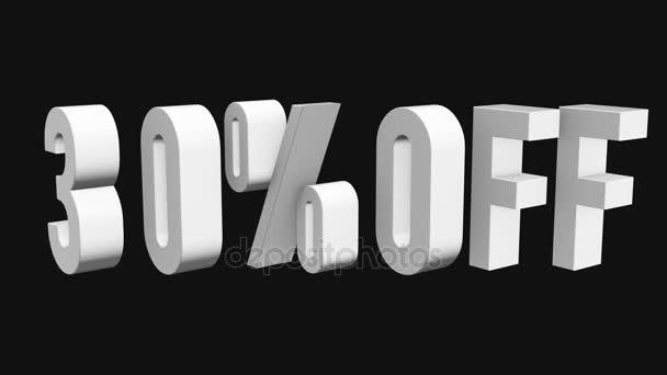 30 procent z 3d písmen otočit na černém pozadí