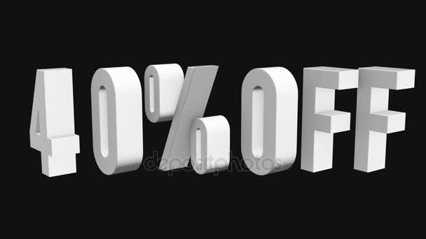 40 procent z 3d písmen otočit na černém pozadí