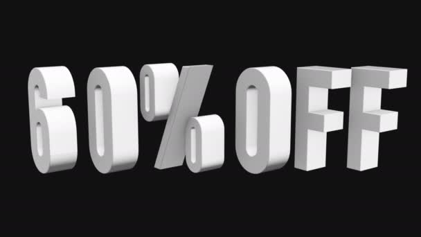 60 procent z 3d písmen otočit na černém pozadí