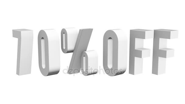 70 Prozent der 3D-Buchstaben rotieren auf weißem Hintergrund