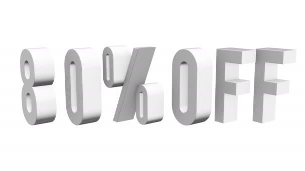 80 procent z 3d písmen otočit na bílém pozadí