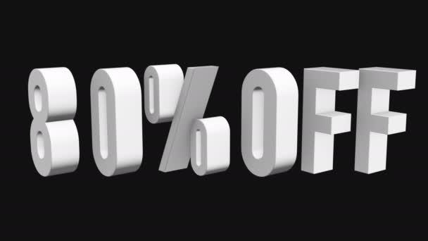 80 procent z 3d písmen otočit na černém pozadí