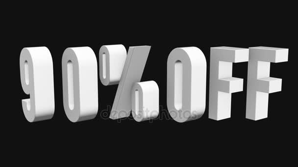 90 procent z 3d písmen otočit na černém pozadí