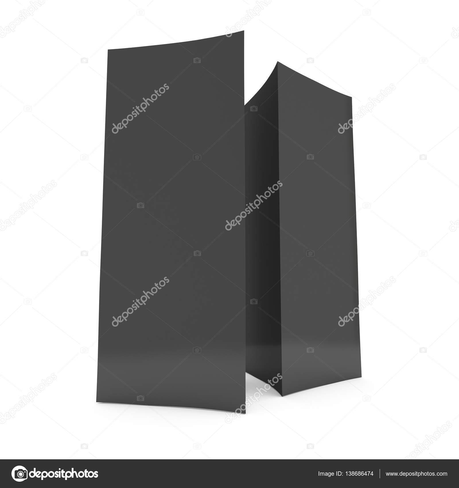 Schwarzes Papier gefaltete Karte. 3D render — Stockfoto © newb1 ...