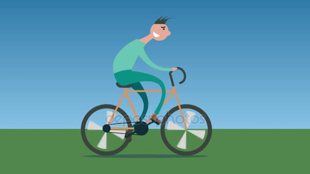 homem dos desenhos animados ciclismo bicicleta de estrada vídeo de