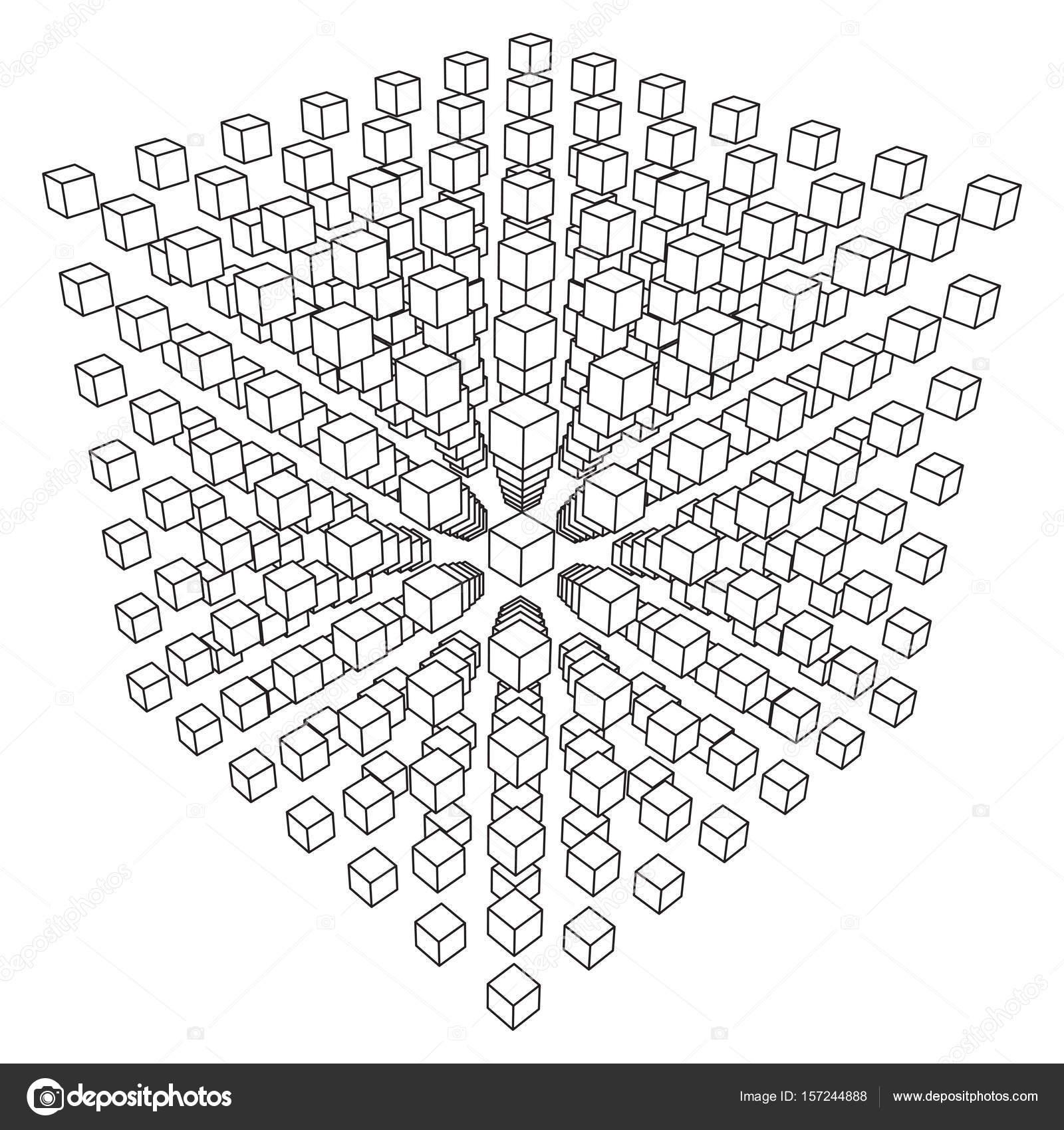 Wireframe-Mesh-Cube — Stockvektor © newb1 #157244888