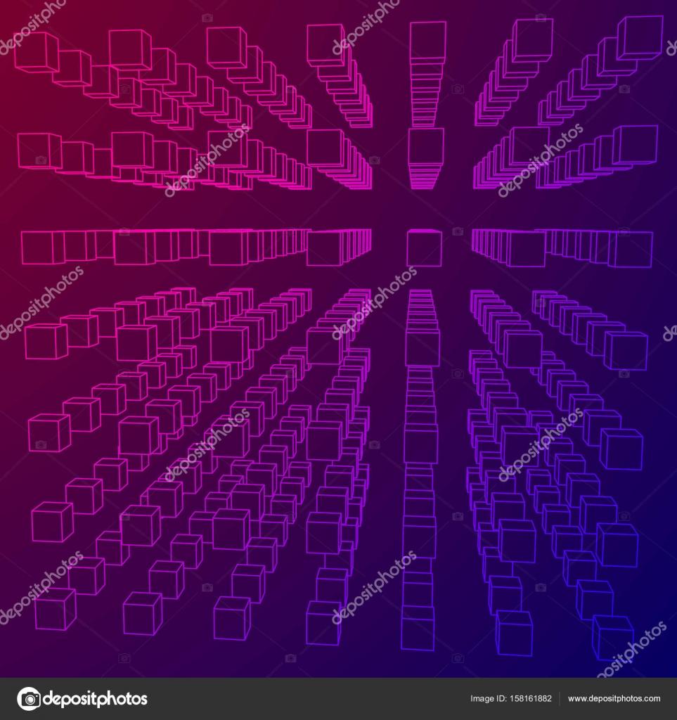 Wireframe-Mesh-Cube — Stockvektor © newb1 #158161882
