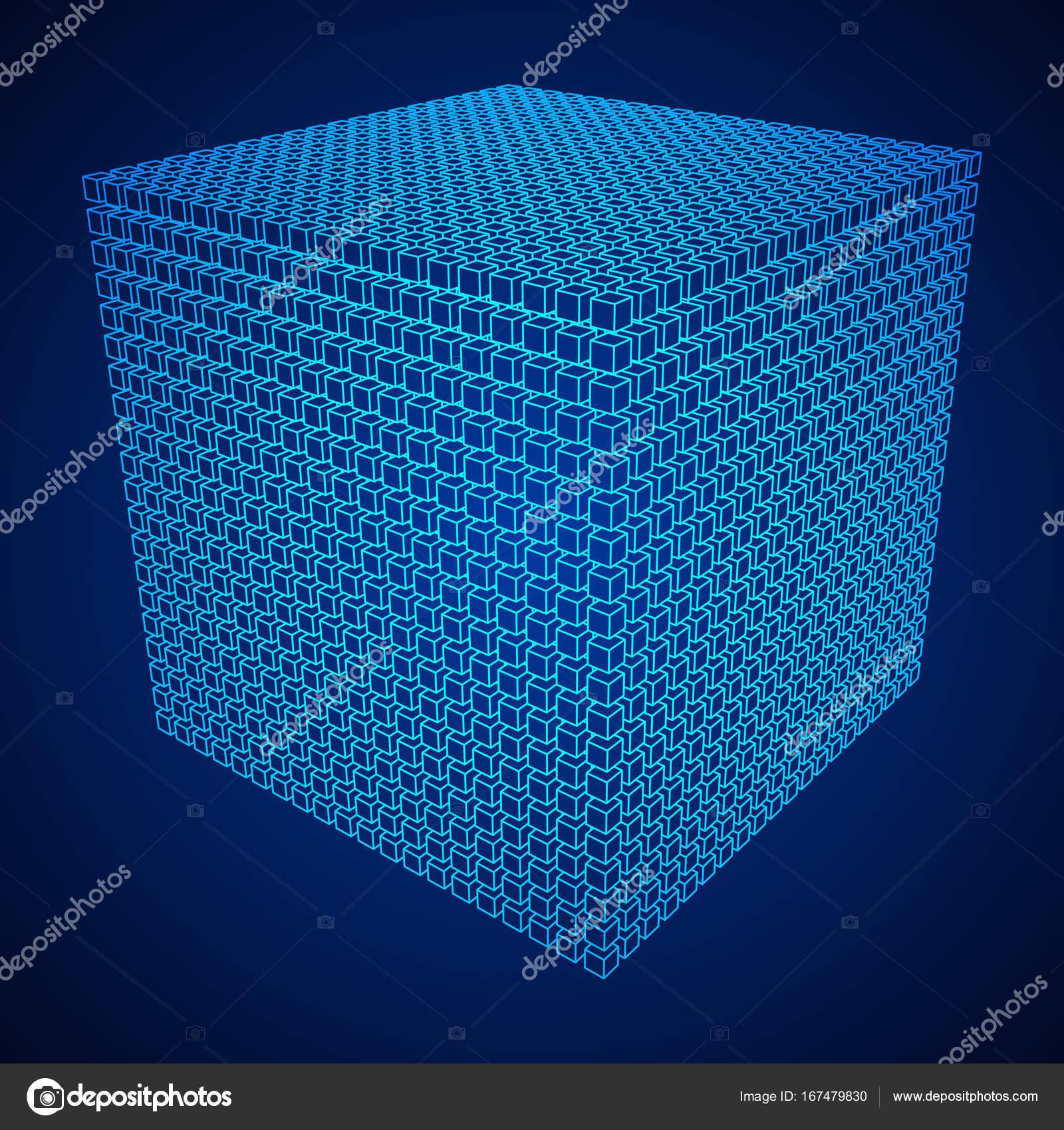Wireframe-Mesh-Cube — Stockvektor © newb1 #167479830