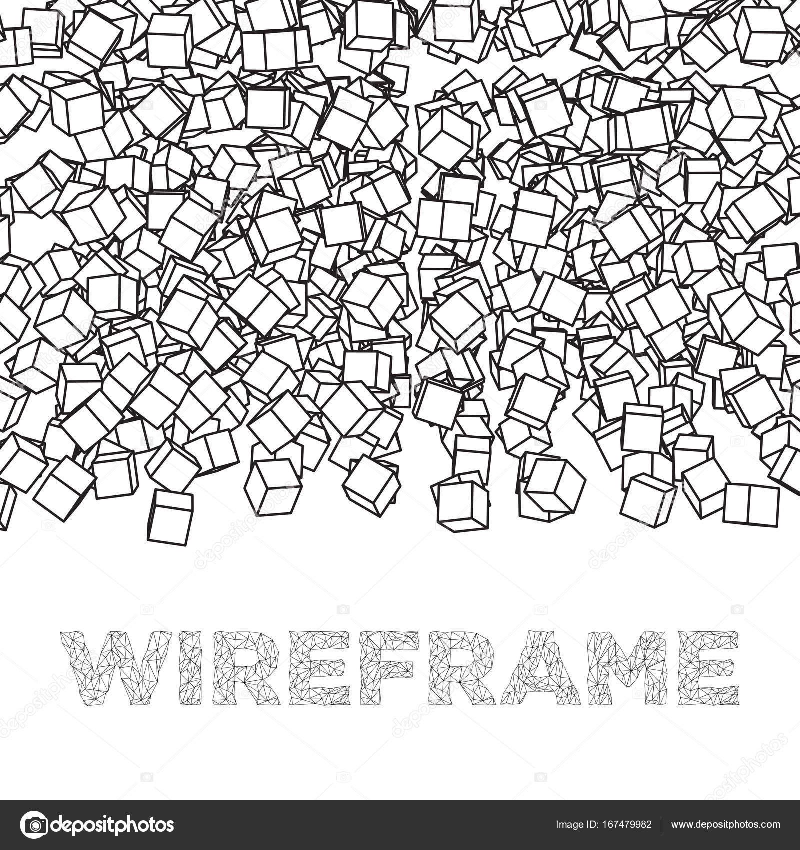 Wireframe-Mesh-Cube — Stockvektor © newb1 #167479982