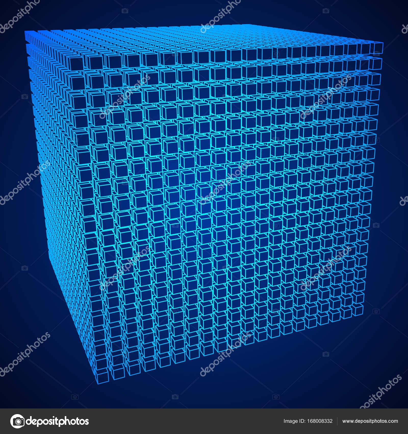 Wireframe-Mesh-Cube — Stockvektor © newb1 #168008332