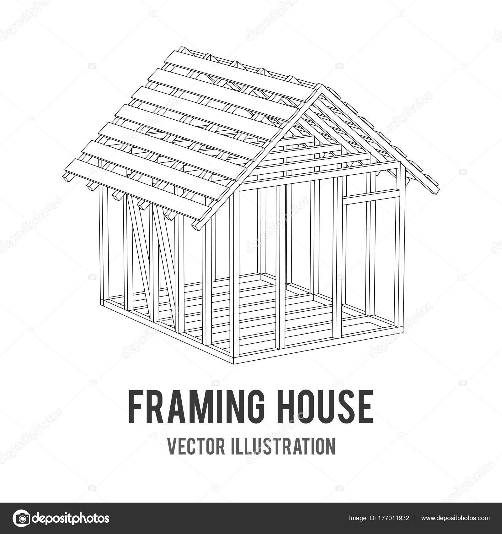 Casa de estructura de alambre — Vector de stock © newb1 #177011932