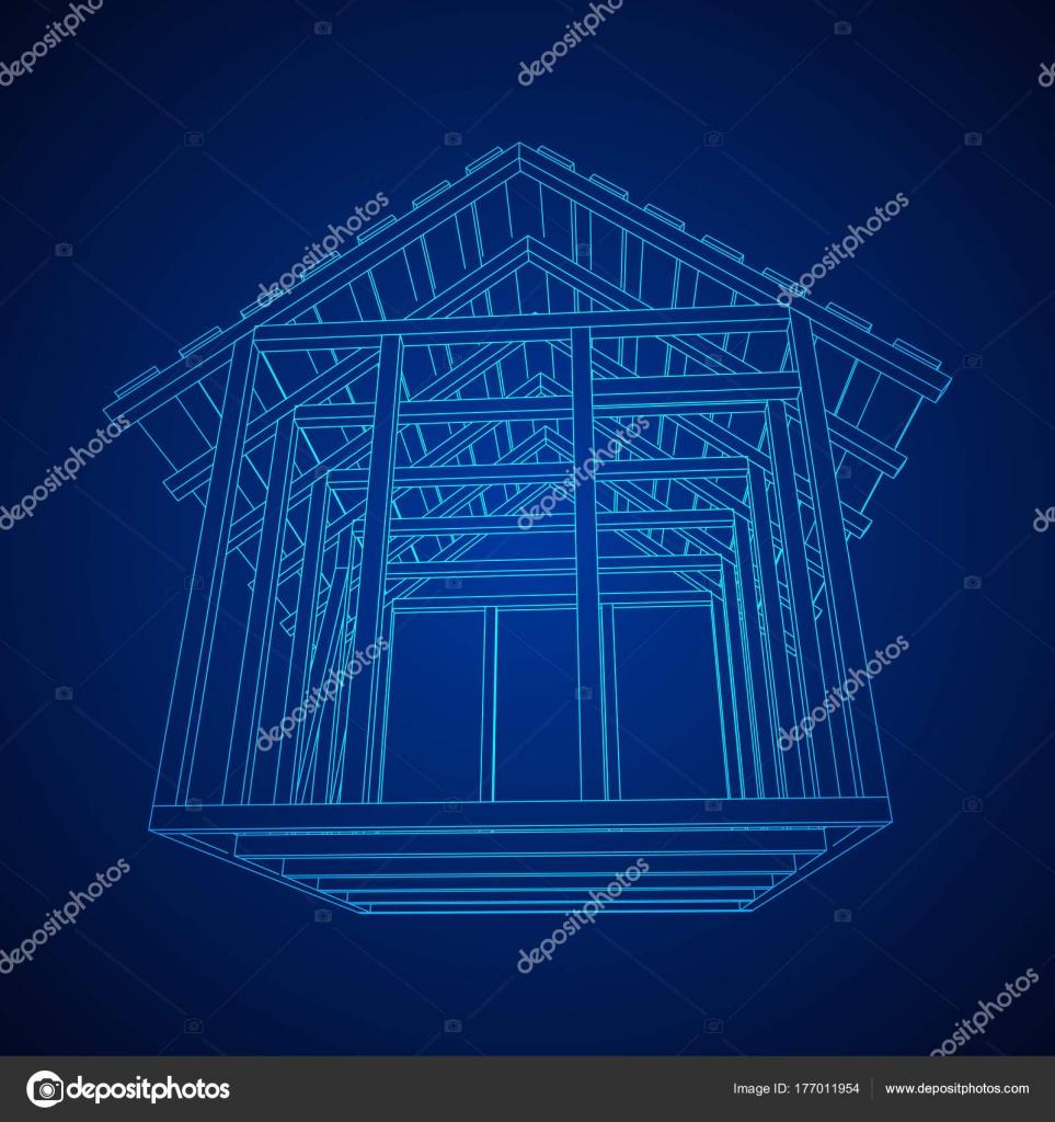 Casa de estructura de alambre — Vector de stock © newb1 #177011954
