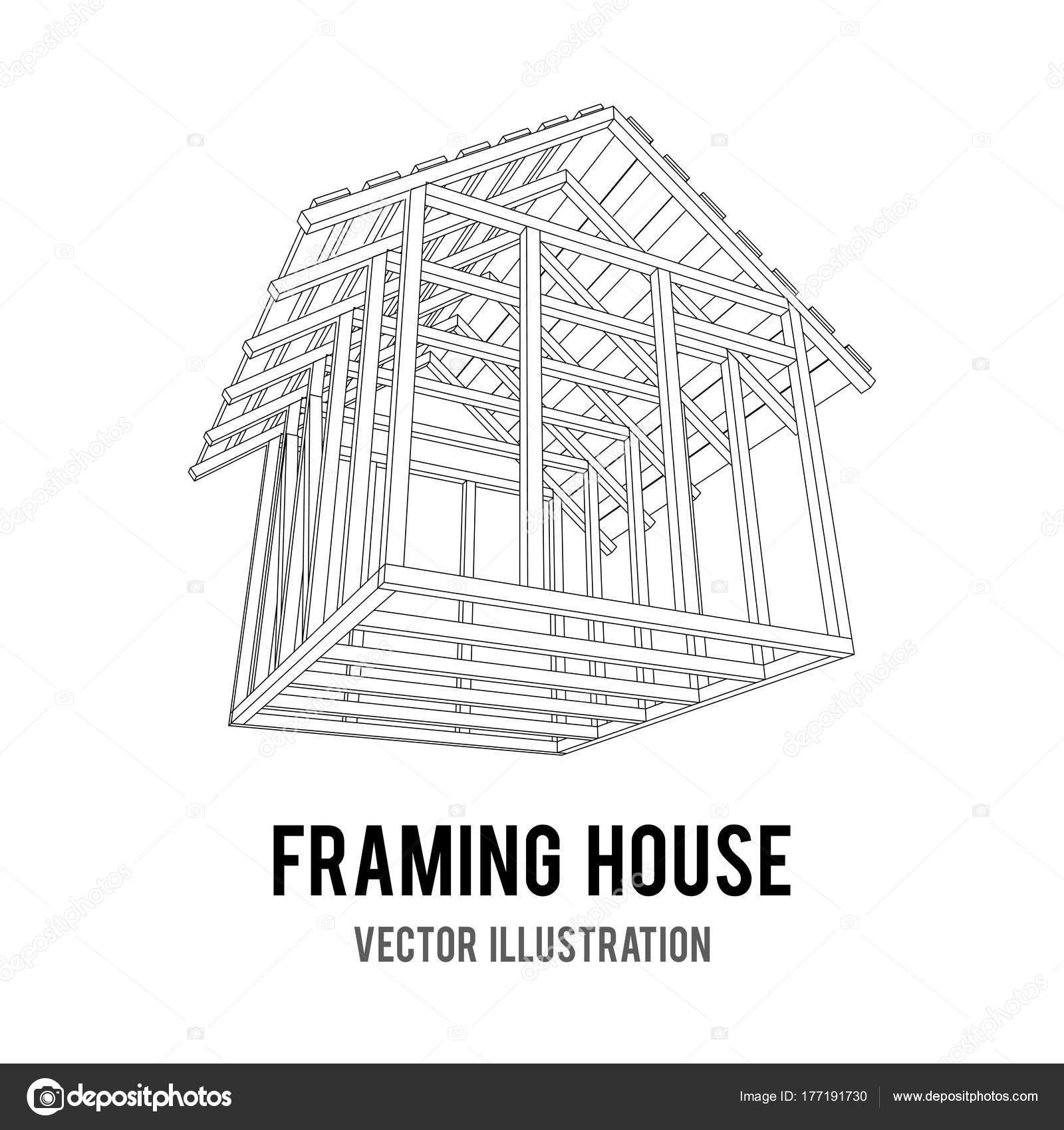 Casa de estructura de alambre — Vector de stock © newb1 #177191730