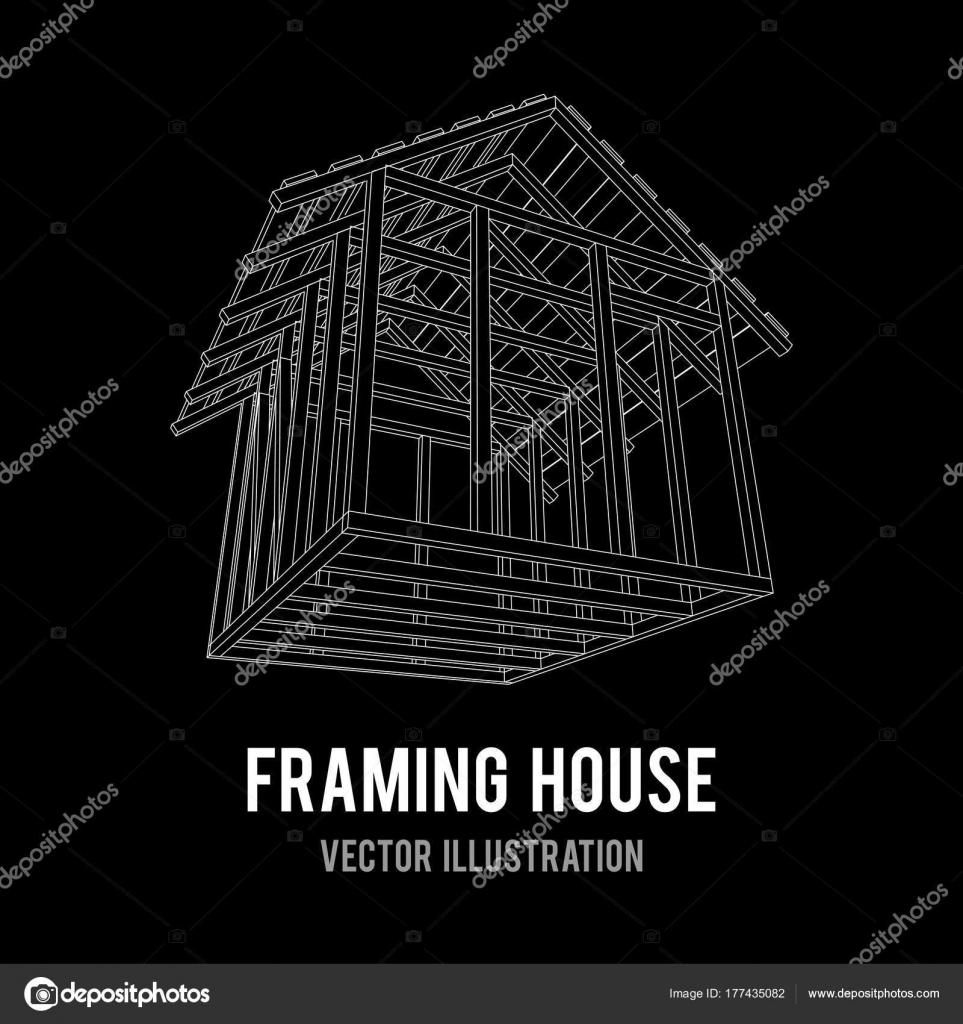 Casa de estructura de alambre — Archivo Imágenes Vectoriales © newb1 ...