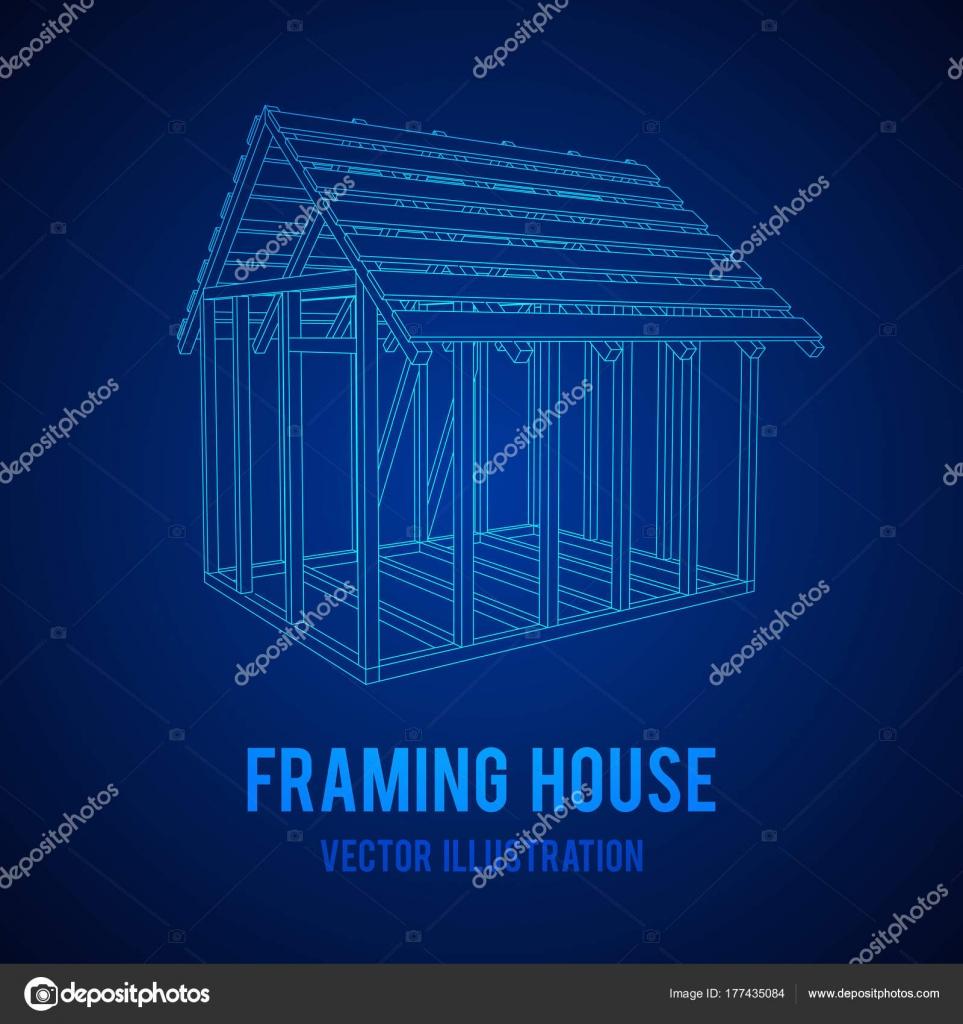 Wireframe-Framing-Haus — Stockvektor © newb1 #177435084