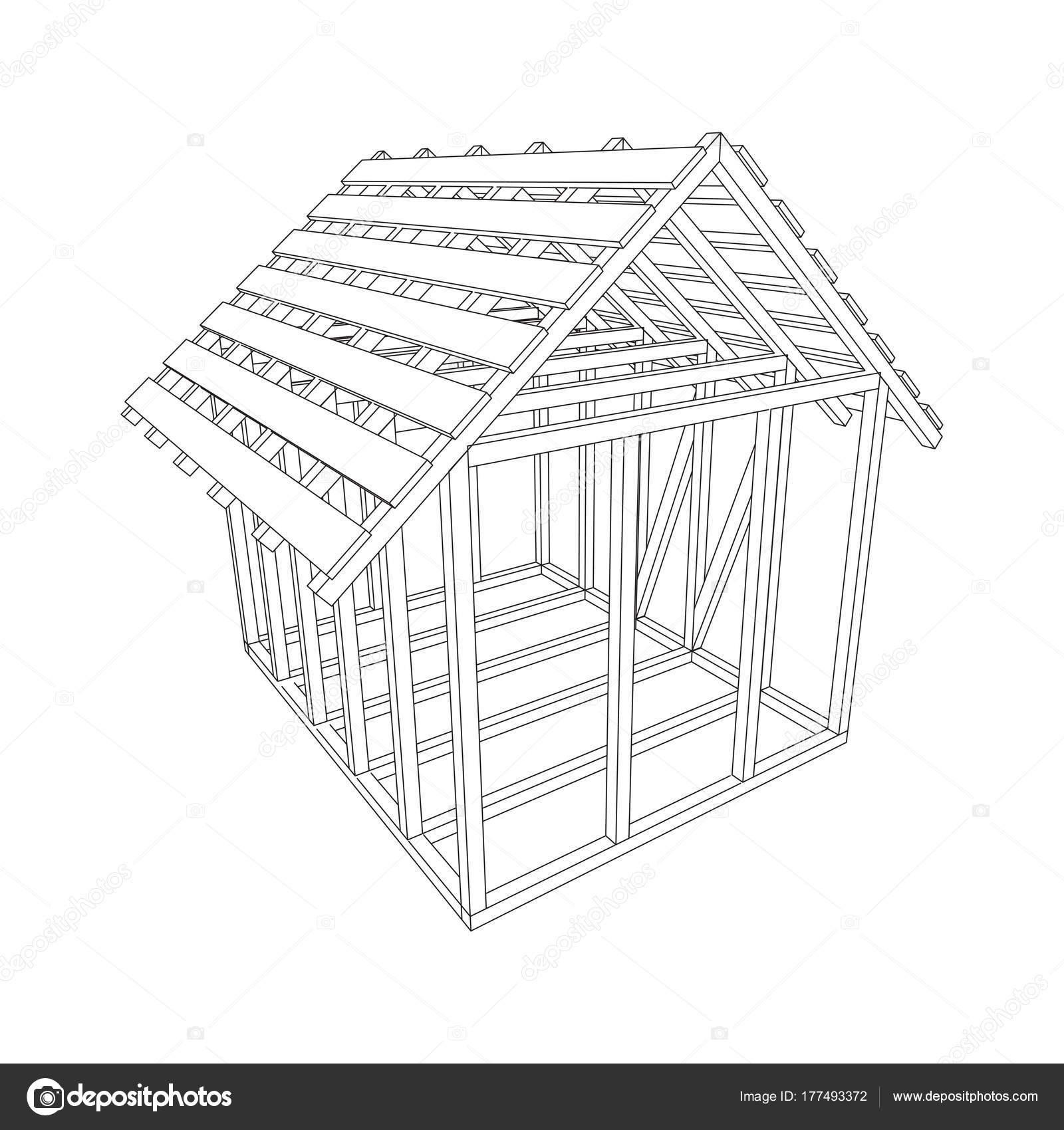 Casa de estructura de alambre — Vector de stock © newb1 #177493372