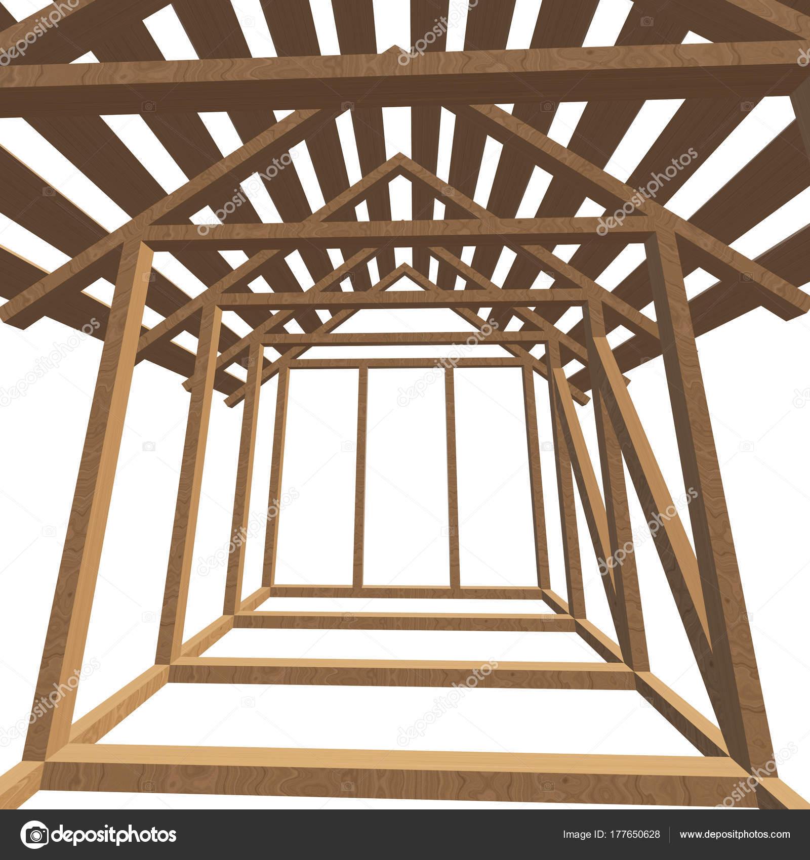 Aus Holz Framing Haus — Stockfoto © newb1 #177650628