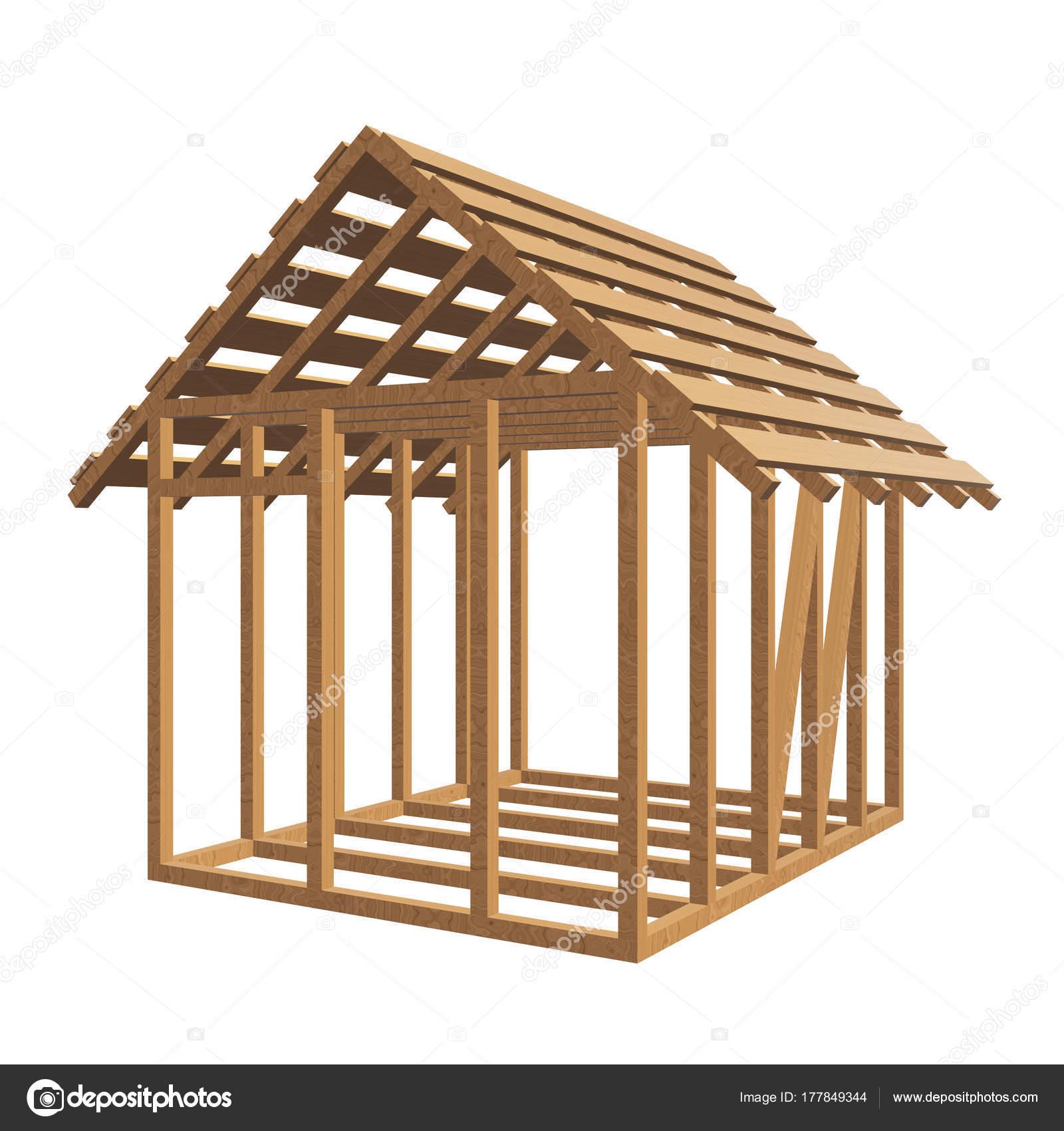 Construction Pergola Bois Plan wooden framing house — stock photo © newb1 #177849344