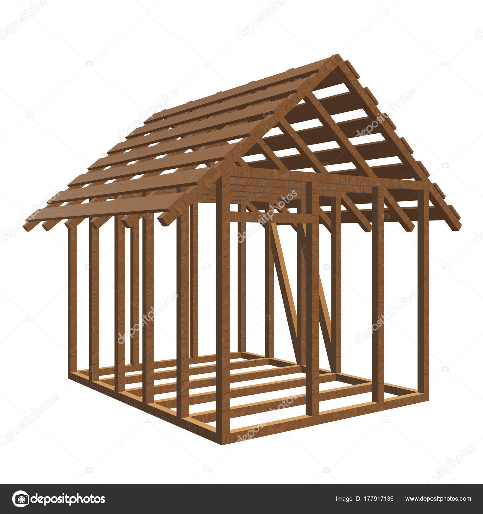 Aus Holz Framing Haus — Stockfoto © newb1 #177917136