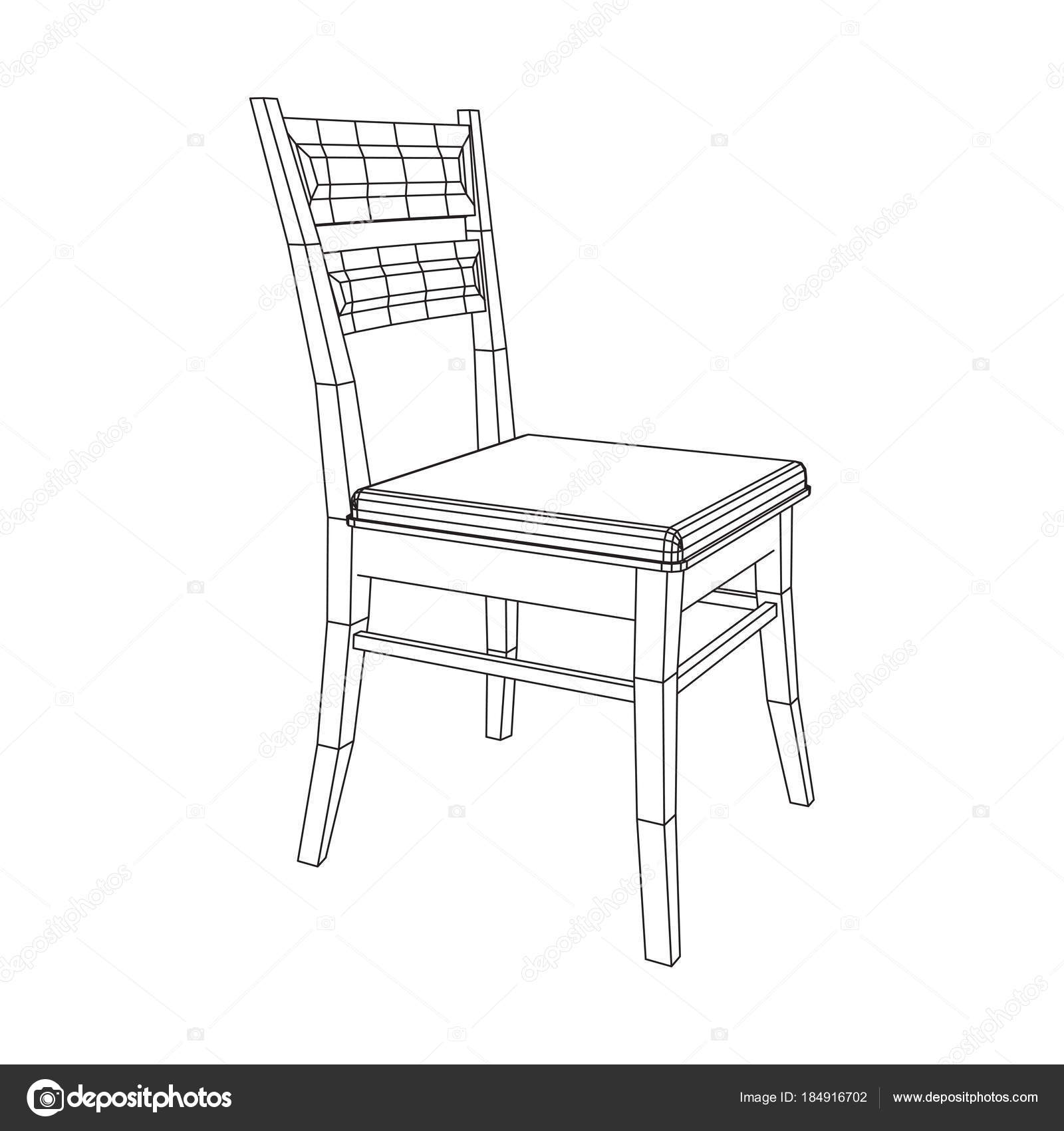 Chair With Backrest Wireframe Low Poly Mesh Vector Illustration U2014 Vector By  Newb1