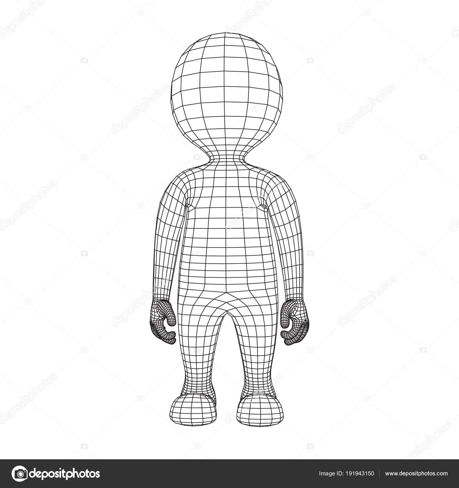 Wireframe low-Poly Mesh menschlichen Cartoon Körper — Stockvektor ...