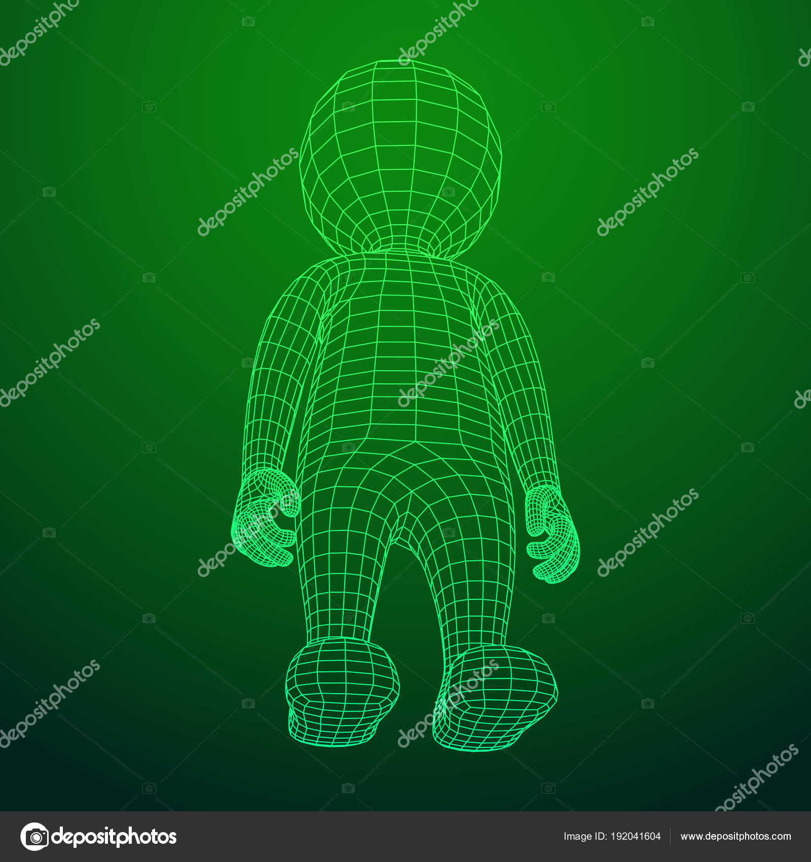 Wireframe low poly mesh human cartoon body — Stock Vector