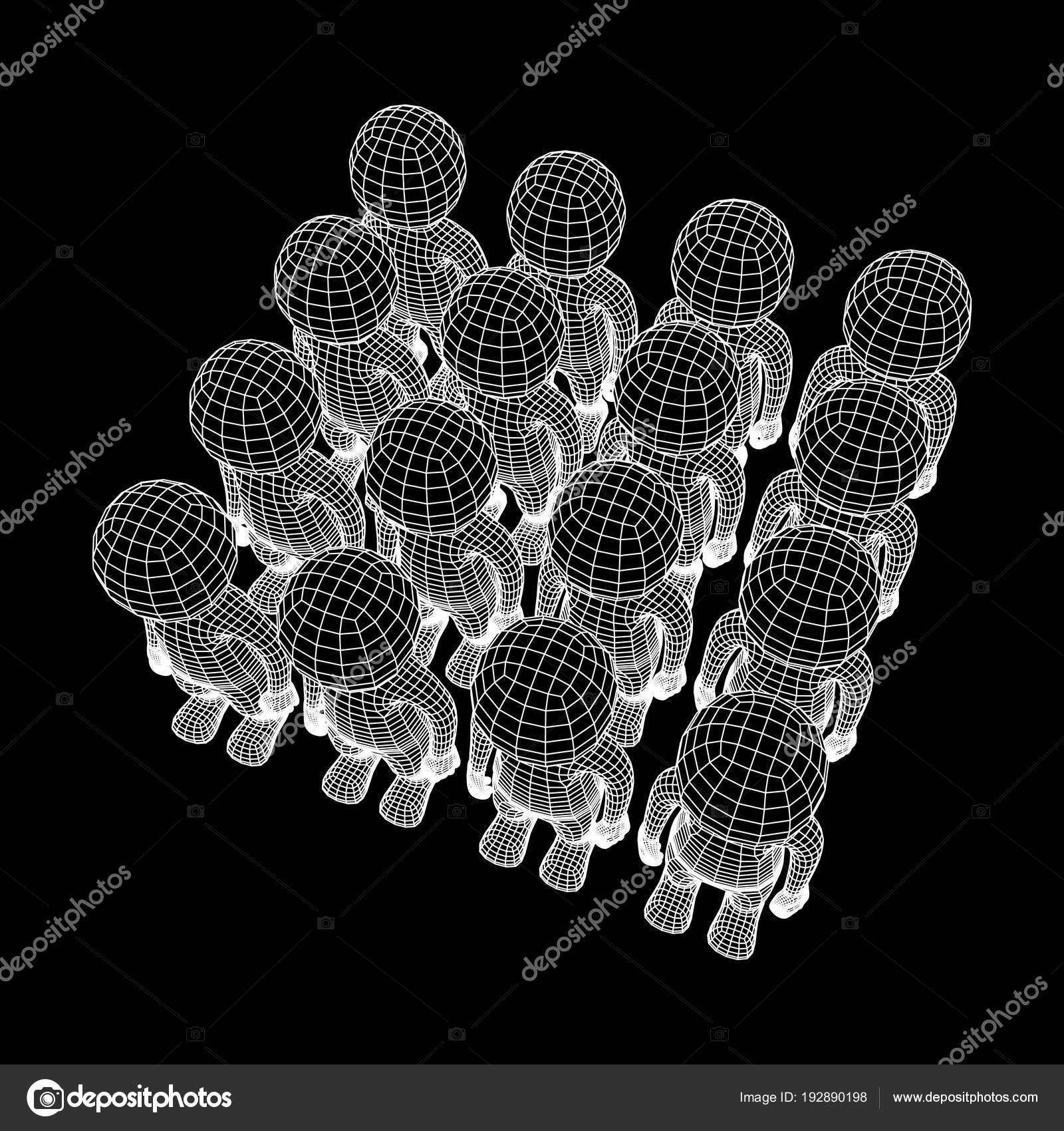 Wireframe low poly mesh human cartoon bodys — Stock Vector © newb1