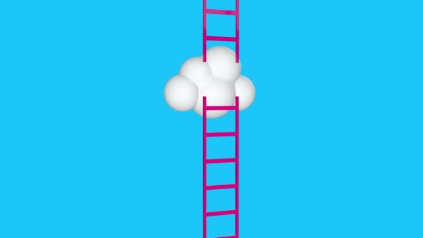 Next level with clouds towards the sky and tall ladders