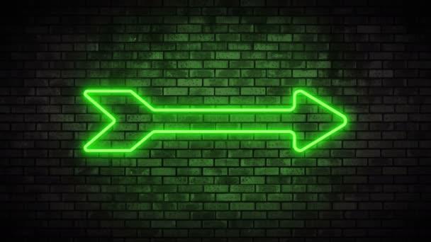 Neon frame arrow on brick wall. Night Club Bar Blinking Neon Sign.